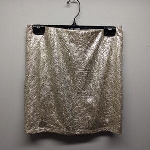 GUESS Metallic Gold Mini Skirt with Rose Pattern